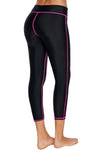 Strecth Rosy Seam Detail Black Swim Capris Striped Swimming Yoga Long Pants Sports Capris Tights Women