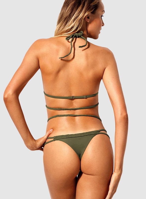 Swimsuitsnova Low Waist Solid Braided Rope Strappy Bikini Set Two Piece Swimsuit Women Bathing Suit