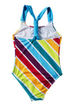 Multi Stripe Baby Girls One Piece Swimsuit Red Blue And Yellow Rainbow Colorful Print Baby Bathing Suits