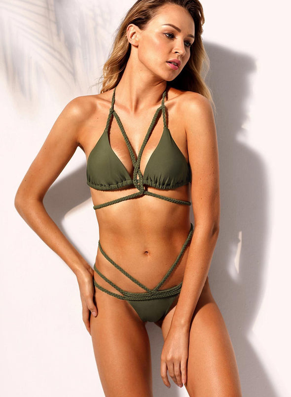 Swimsuitsnova Green Low Waist Solid Braided Rope Strappy Bikini Set Two Piece Swimsuit Women Bathing Suit
