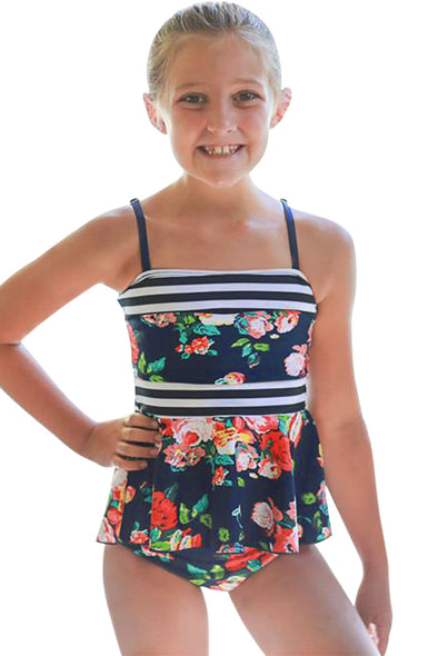Blue Navy Floral Print Peplum Little Girls Swimsuit