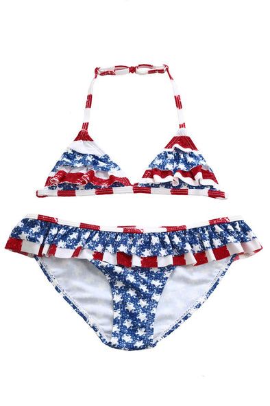 Swimsuitsnova Multicolor Layered Ruffle Trim American Flag Bathing Suit Halter Cute Girl Bikini Set Two Piece Swimsuit Kid Bathing Suit
