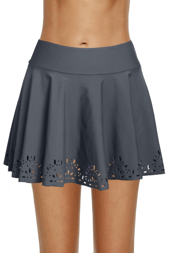 Swimsuitsnova Gray A-Line Cut Swim Skirt Bikini Bottom Solid Short Hollow Out Swim Skirt Skort Women Mid Waist Bathing Suit
