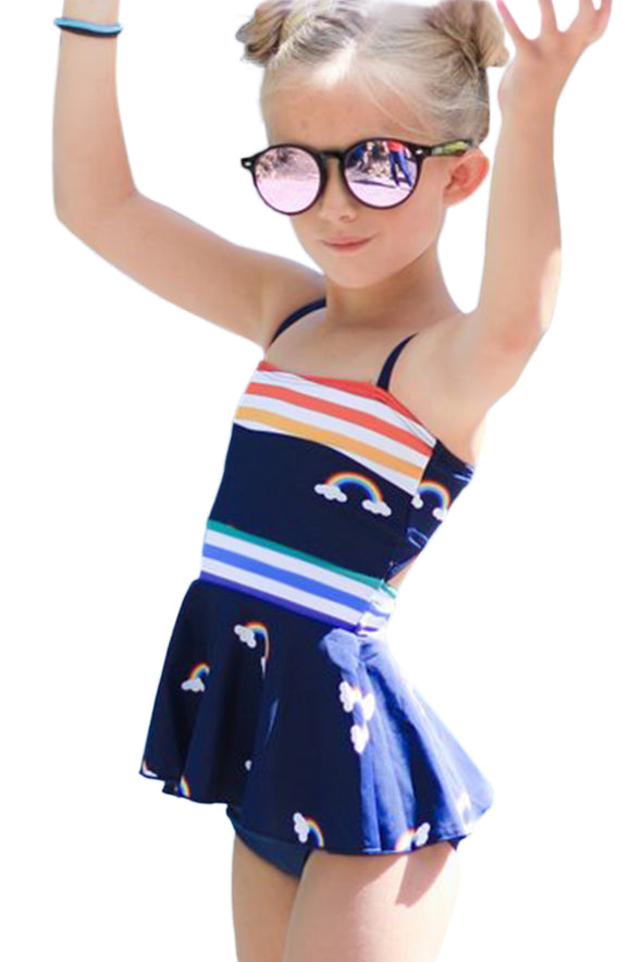Swimsuitsnova Sky Blue Girl Swimsuit Rainbow Floral Stripes Print Peplum Hollow-Out Swimdress And Short Girl Tankini Set Bathing Suit