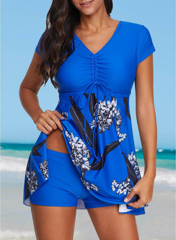 Swimsuitsnova Blue Floral Print Tunic Tankini Set Mid Waist Swimdress And Shorts Two Piece Swimsuit