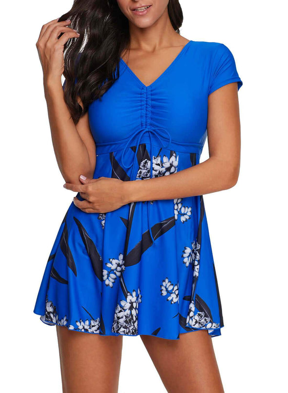 Swimsuitsnova Floral Print Tunic Tankini Set Mid Waist Swimdress And Shorts Two Piece Swimsuit