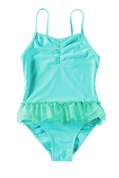 Swimsuitsnova Multicolor Blue Ruffles Girls One Piece Swimsuit Adjustable Straps Cute Bathing Suit