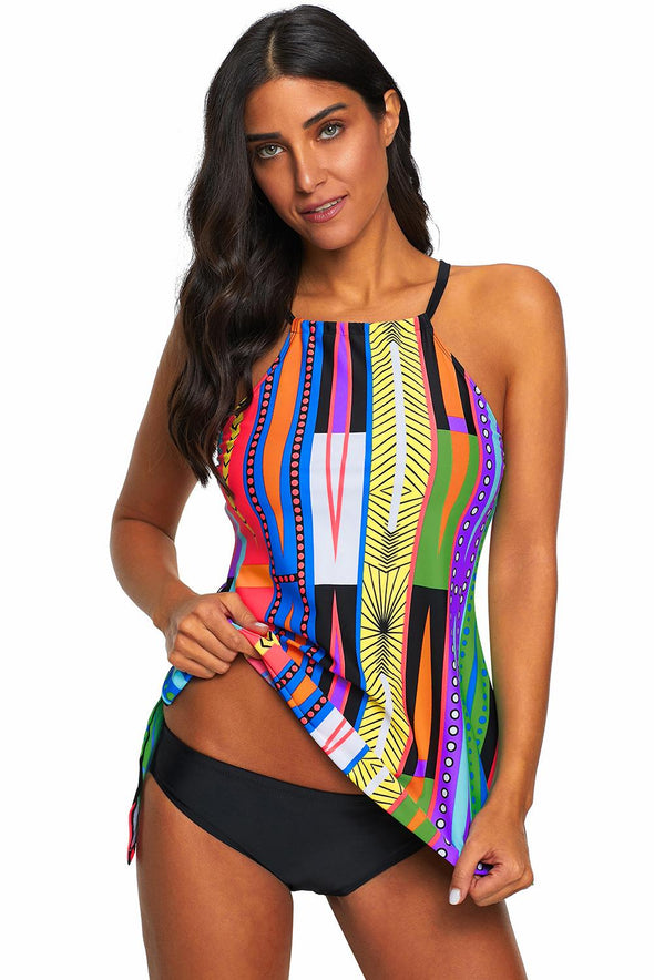Multicolor Patterned Cami Swimdress Tankini Set Low Waist Hollow-Out Back Two Piece Swimsuits Women Bathing Suit