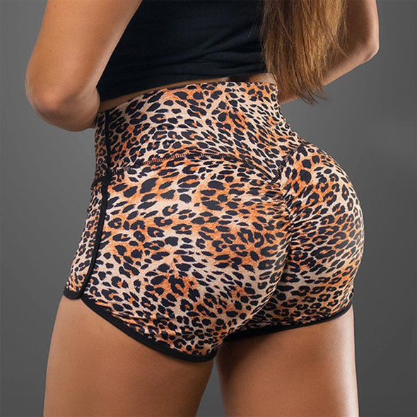 Leopard High Waist Bike Shorts Butt Lifting Yoga Shorts Push Up Fitness Workout Running Quick Dry Sports Leggings Booty Slim Gym