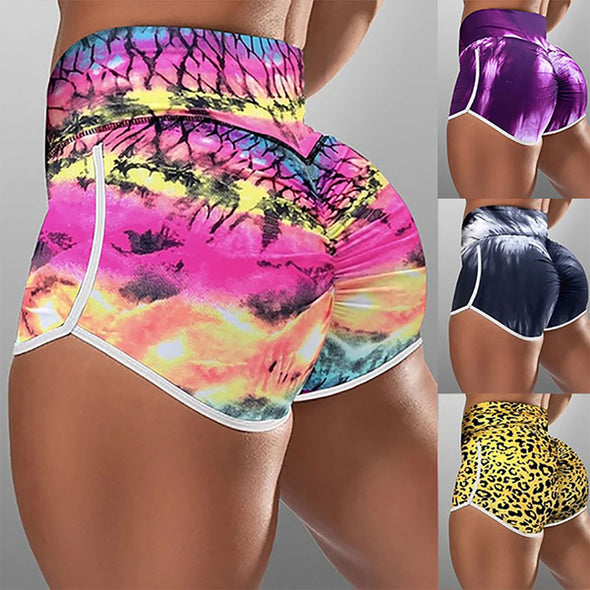 Workout Shorts Tie-dye Printed High Waist Sporty Shorts Push Up Yoga Running Butt Lifting Quick Dry Sports Leggings Booty Slim Gym