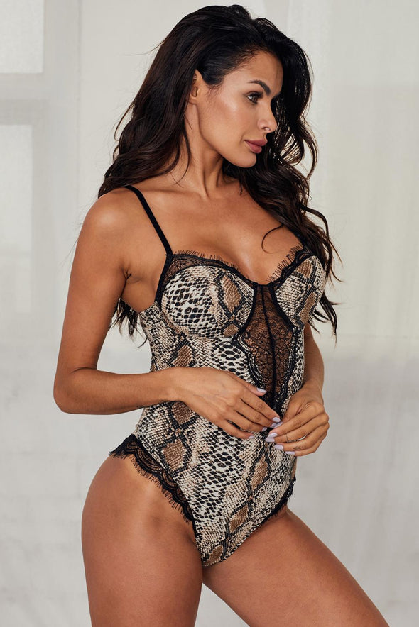 Leopard Spaghetti Strap Backless Snake Printed Teddy Hollow-out  V Neck Lingerie