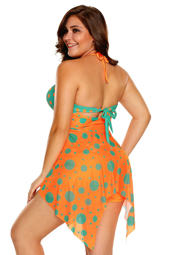 Swimsuitsnova Plus Size Orange Blue Cute Polka Dot Print Swimdress And Shorts Tankini Set Two Piece Swimsuit Women Bathing Suit