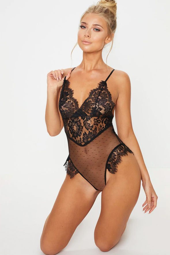 Black Lace Mesh Teddy
