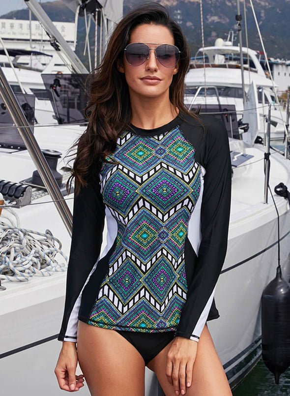 Tribal Print Long Sleeve Tankini Top Color Block Rashguard