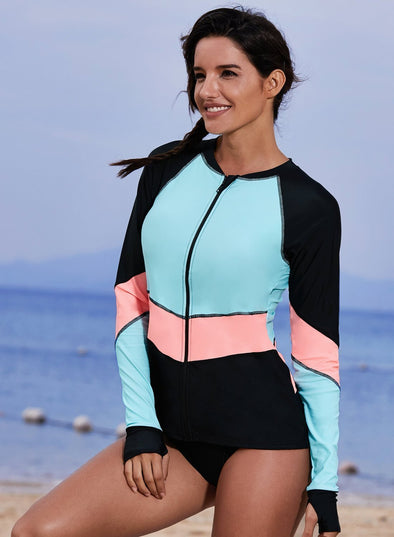 Color Block Zip Down Rashguard Top