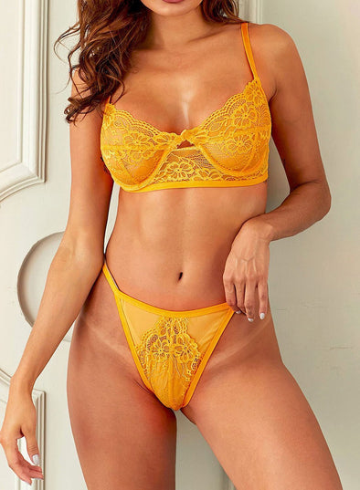 Swimsuitsnova Yellow High Waisted CBlossom Balcony Thong Lace Underwear Bralettes Set High Cut Lingerie Valentines Day Women