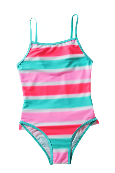 Swimsuitsnova Multicolor Neon Multicolor Striped Ruffle Trim Teddy Girls One Piece Swimsuit Kid Bathing Suit Monokini