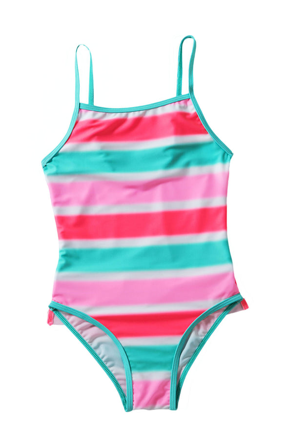 Neon Multicolor Striped Ruffle Trim Girls?¡¥ Teddy Swimsuit