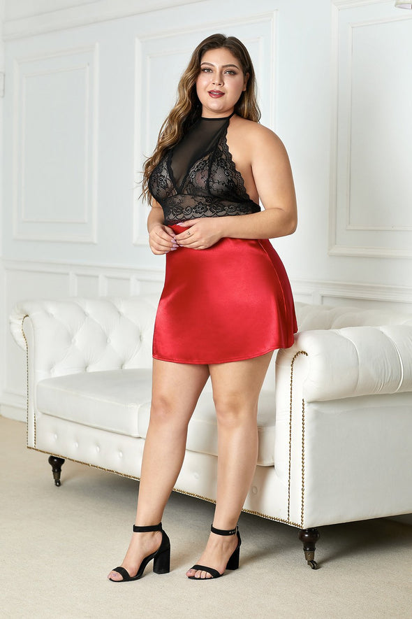 Red High Neck Plus Size Lingerie Lace Satin Short Nightdress Babydoll Mesh Open Back Sleepwear Valentines Day Women Chemise