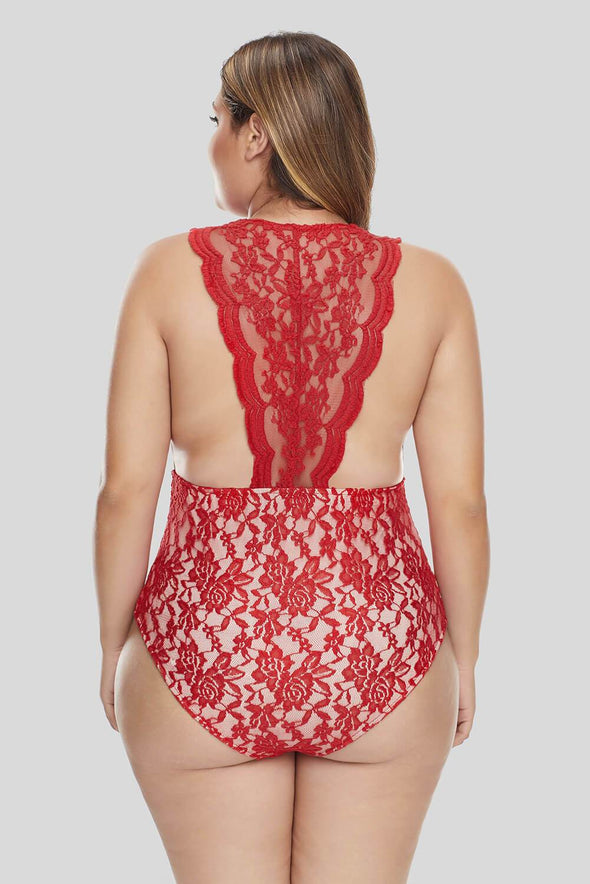 Red Plus Size Deep V Neck Floral Lace Teddy Bodysuit Mesh Lingerie Sleepwear Valentines Day Women