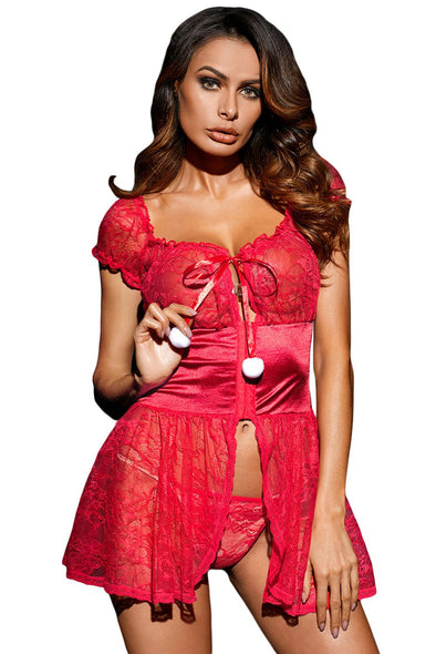 Swimsuitsnova Red Red Satin Bewitching Lace Babydoll Pom Poms lace trimmed skirt Chemise Dress Lingerie Sleepwear Nightie women
