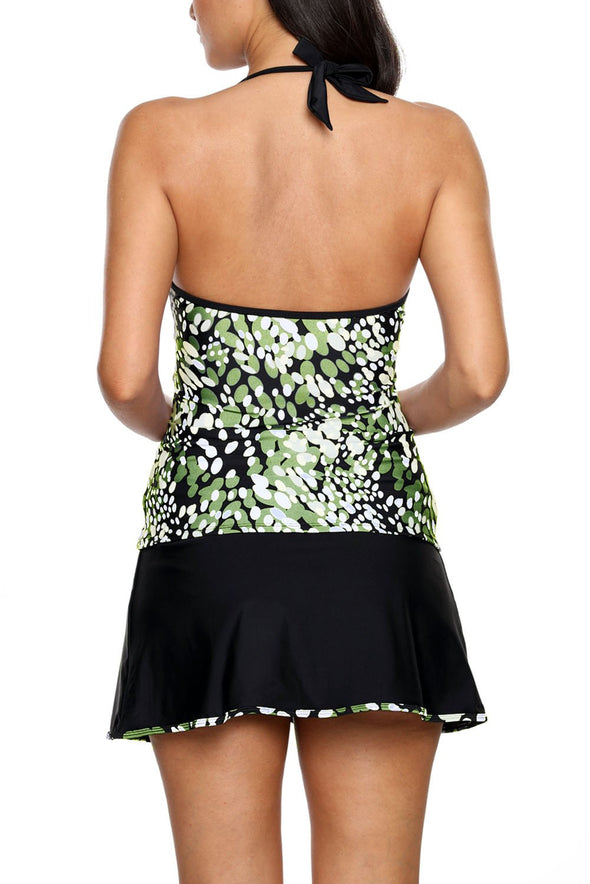 Spots V-neck Tankini Wrapped Skirt Two Piece Swimsuit Swimdress Tummy Control Women Bathing Suit