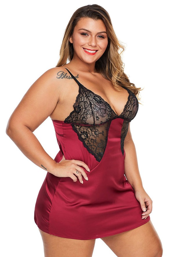 Red Coloblock Lace Cup Hollow Out Plus Size Babydoll Open Back Mesh Lingerie Sleepwear Valentines Day Women Underwire