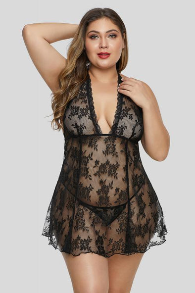 Black Sheer Babydoll Open Back Floral Lace Plus Size Lingerie Deep V Neck Scalloped Trim Sleepwear Valentines Day Women