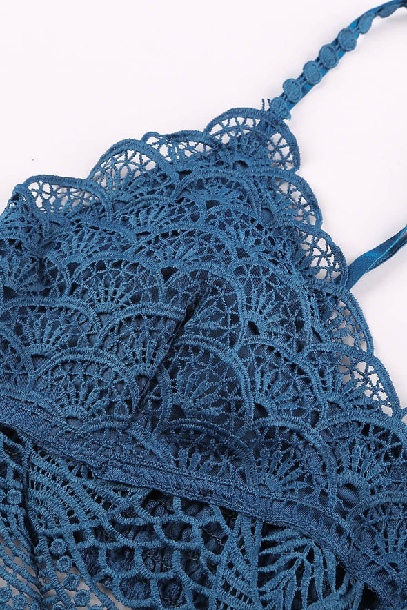 Blue Lace Bra Top Crochet Bralette Scalloped Neck Underwear Mesh Hollow Out Lingerie Women Valentines Day