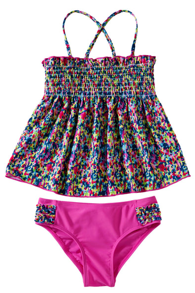 Swimsuitsnova Multicolor Little Girls Boho Two Piece Swimsuit Tankini Set Cross Back Straps Swimdress And Panty Cute Girl Bathing Suit