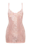Swimsuitsnova Baby Pink Sheer Lace Lingerie Slip Dress Slip Dress V Neck Women Sleepwear Hollow Out Mesh Mini Dress