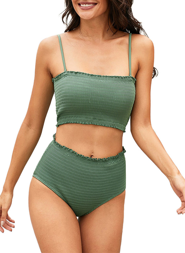 Solid Strapless Smocked High Waist Bikin Set Straight Neck Ruffle Tight Fitting Two Piece Swimsuit Women Bathing Suit