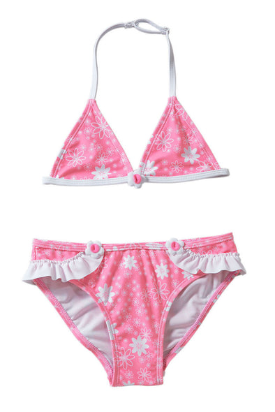 Swimsuitsnova Multicolor Pink Floral Print Halter Bathing Suit For Girls Ruffle Bottom Cute Bikini Set Two Piece Swimsuits Kid Bathing Suit
