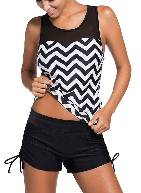 Black White Zigzag Print Mesh Splice Tankini Set Color Block Two Piece Swimsuits For Women Bathing Suit Beach Swimwear