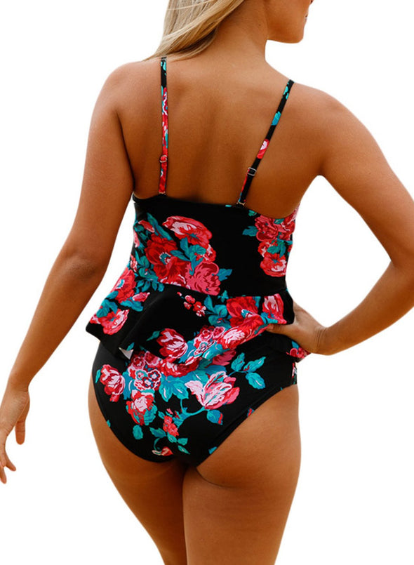 Floral One Piece Swimsuit High Waisted Wire-free Women Bathing Suit