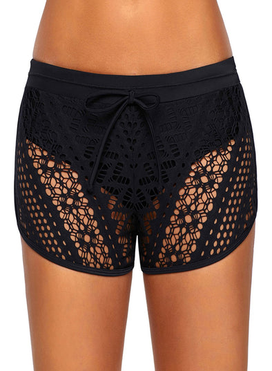 Swimsuitsnova Black Hollow Out Lace Overlay Swim Short Bottom
