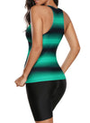 Ombre Print Racerback Round Neck Tankini Set Lace-Up Two Swimsuit Color Block Bathing Suit