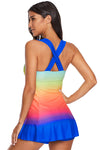 Ombre Tie Dye Color Block Rainbow Swimdress With Shorts Summer Beach Tankini Set Swimwear Women Bathing Suit