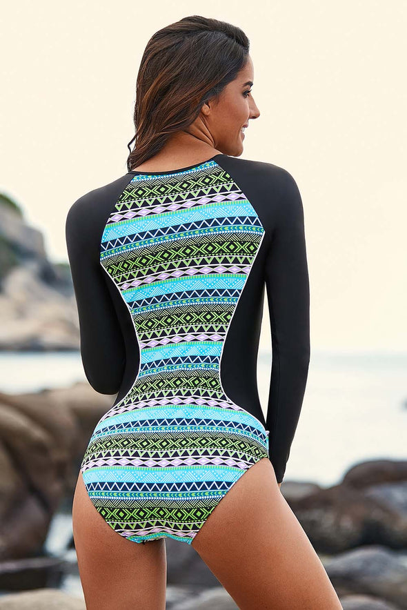 Greenish Tribal Hourglass Rashguard Zip Front One Piece Swimsuit Long Sleeve Surfing Athletic Uv Women Bathing Suit Quick Dry