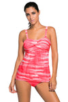 Swimsuitsnova Red Green Tie Dye Striped Tummy Control Top and Bottom Tankini Set Two Piece Women Bathing Suit