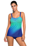 Swimsuitsnova 4#Sky Blue Green Tie Dye Striped Tummy Control Top and Bottom Tankini Set Two Piece Women Bathing Suit