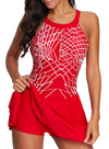 Swimsuitsnova Red Printed Thick Shoulders Crossed Swimdress And Shorts Spaghetti Tankini Set Quick Dry Two Piece Swimsuit Women Bathing Suit