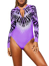 Tie Dye Long Sleeved Rashguard Zip UV Protection Print Surfing One Piece Swimsuit Women Quick Dry