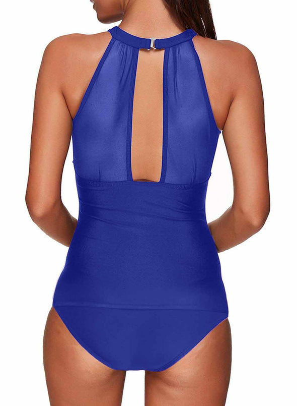 High Neck Plunge Mesh Ruched Tankini Swimwear Two Piece Swimsuit Women Bathing Suit