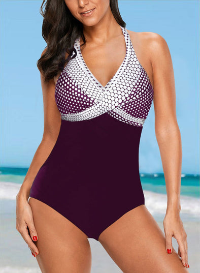 Swimsuitsnova Black Multicolor Dot Print onepiece
