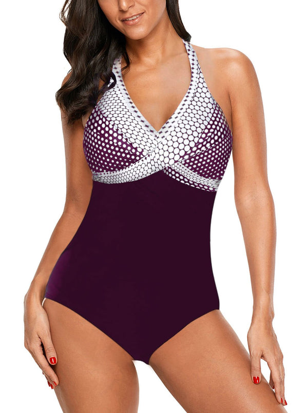 Swimsuitsnova Multicolor Dot Print onepiece