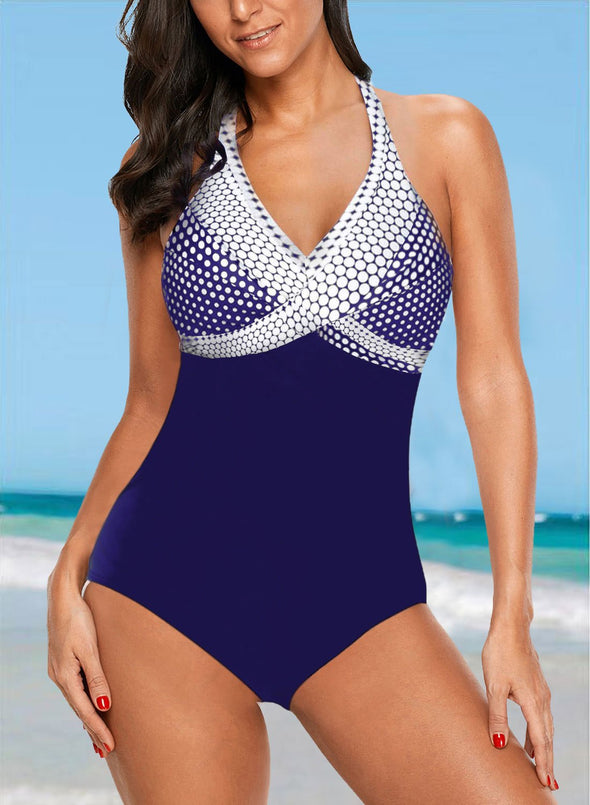 Swimsuitsnova Blue Multicolor Dot Print onepiece