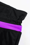 Violet Strap Trim Black Women Swim Short Mid Waist Boardshort Women Bathing Suit