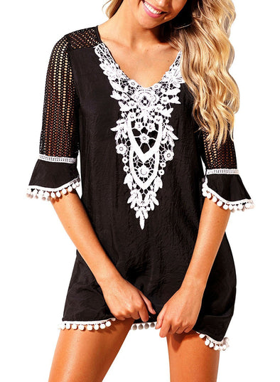 Pom Pom Trim Tassel Lace Crochet Swimwear Beach Dress Cover Up Half Sleeve