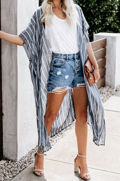 Women's Striped Kimono Cardigan - Chiffon V Neck Half Sleeve Loose Cover Up Bikini Uv Protection Swimsuit